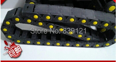 Semi closed 25x57mm Cable drag chain wire carrier with end connectors plastic towline for CNC Router Machine Tools 1000mm