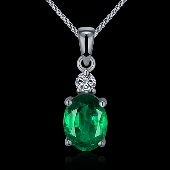 Hot!Natural Emarald Pendant Necklace,Real Diamond Pendant Emerald In Solid 18K White Gold For Women WP057