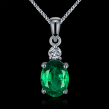 Hot Natural Emarald Pendant Necklace Real Diamond Pendant Emerald In Solid 18K White Gold For Women