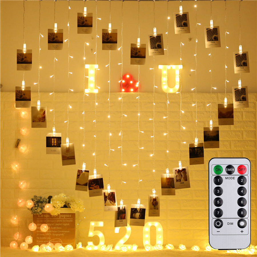 Thrisdar 2.5X2M Card Photos Clips Icicle Curtain Fairy String Light Heart Shape Butterfly Christmas Wedding Fairy Light Garland