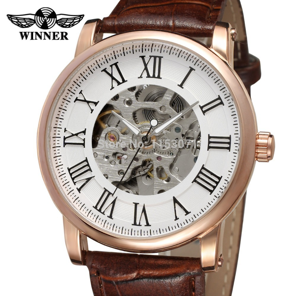 NEWEST WINNER WRG8051M3R6 fashion design rose gold color case silver dial with black color roman numbers