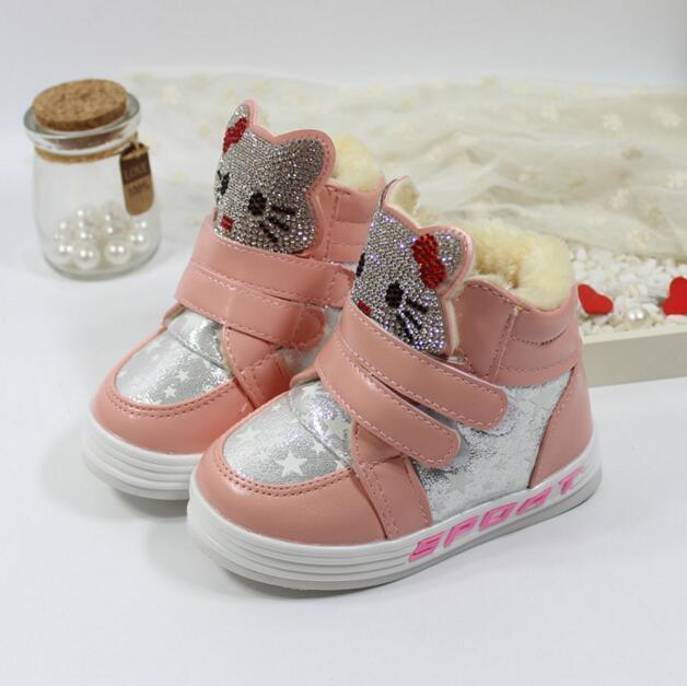 Детские зимние сапоги новая мода 2016 Девушки ПУ снег марка мультфильм кроссовки дети водонепроницаемая резиновая обувь botas infantis