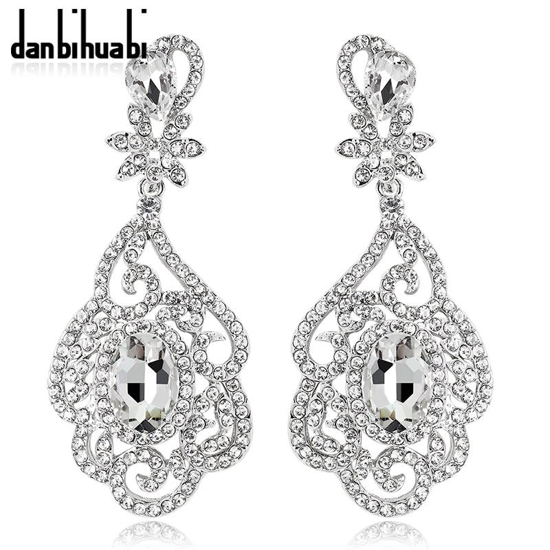 2018 Fashion Flowers Long Earrings For Women Rhinestone Dangle Earrings Bride Wedding Party Costume Jewelry Earring Gift