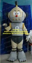 활발한 회색 로봇 지능형 기계 Automaton 마스코트 의상 빨간색 라운드 작은 코 회색 조끼 No.4475 무료 배송