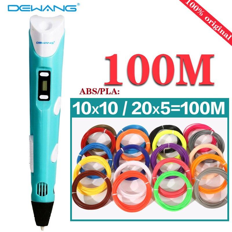 3D Printer pen ABS/PLA filament threads 3D pen with free manual 20 colors 100 M Filament children Magic Maker Art 3D models pen