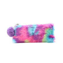 лучшая цена 1 Pc Cute Plush School Pencil Case Rainbow Pencilcase For Girls Large Big Pen Bag Stationery Pouch Box Gift School Supplies
