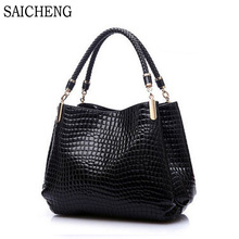 SAICHENG Fashion Stone Shoulder Bags High Quality Crocodile Bags Handbags Women Famous Brands Weaving Ladies Hand