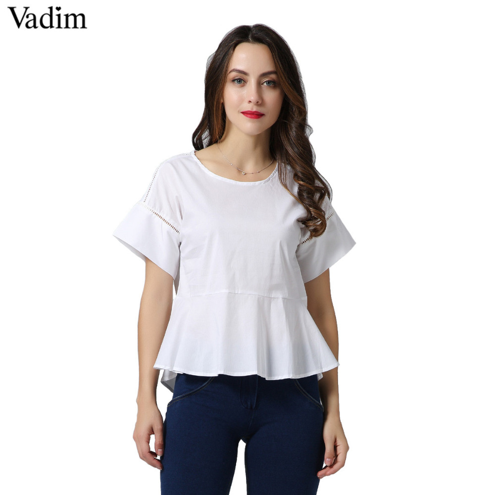 women fashion hollow out short sleeve design o neck blouse back button white shirts ladies summer stylish loose tops DT578