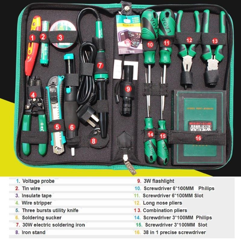 Tools : LAOA Repair Tool Set 53pcs Electric Soldering Iron Screwdriver Set Pliers Utility knife Handtools Repairing Set