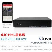 Муравьи 4ch, 8ch H.265 4 К (8MP) ONVIF PoE NVR Поддержка 2×6 ТБ SATA HDD с aeeye смартфон Посмотреть приложение Поддержка HDMI видео и аудио выход
