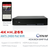 ANTS 4CH 8CH H 265 4K 8MP Onvif PoE NVR Support 2x6TB SATA HDD With AEEye