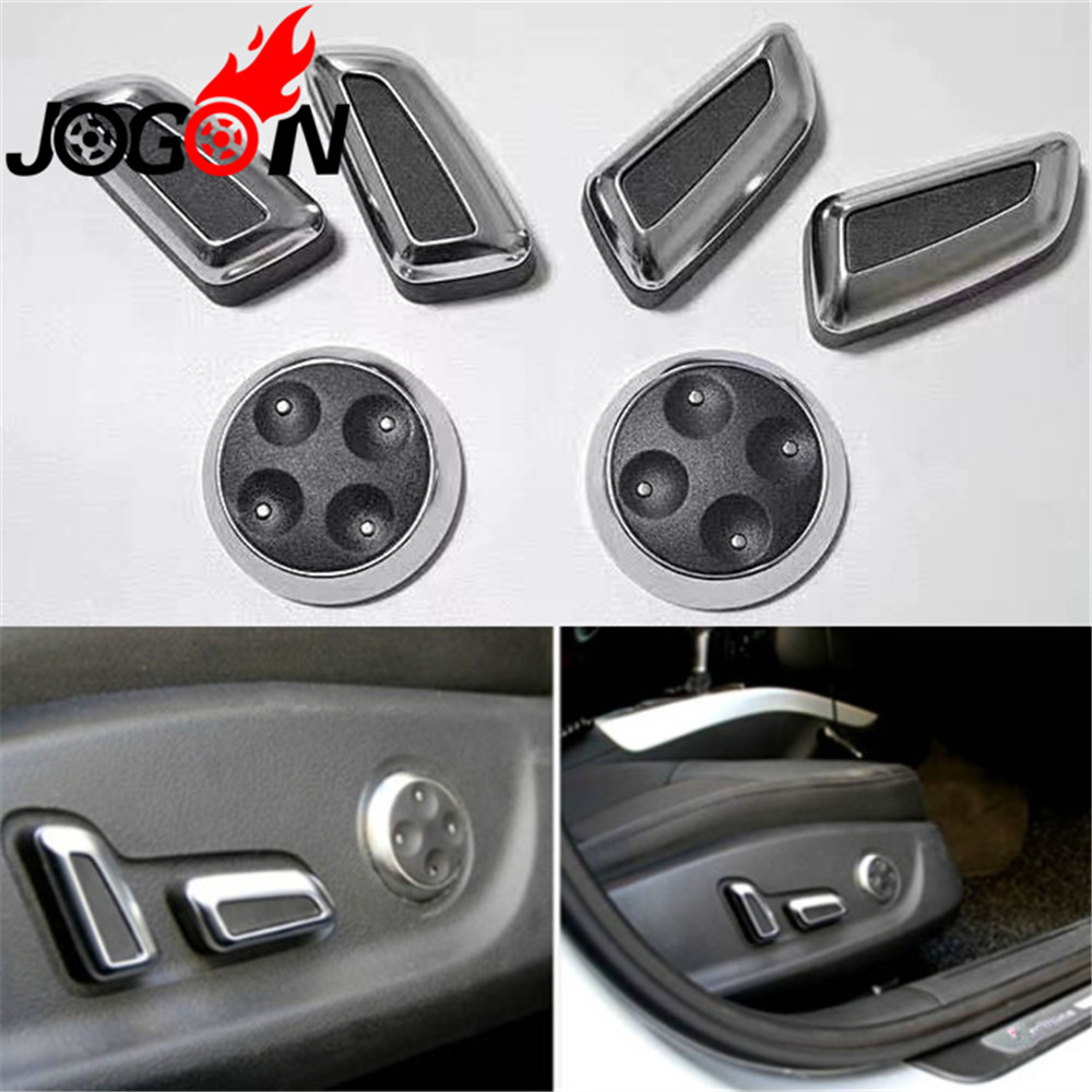 6pcs ABS Chrome Seat Adjustment Button Switch Cover Sticker For Volkswagen VW Passat CC B7 Tiguan 2010-2015 Black & Beige Color