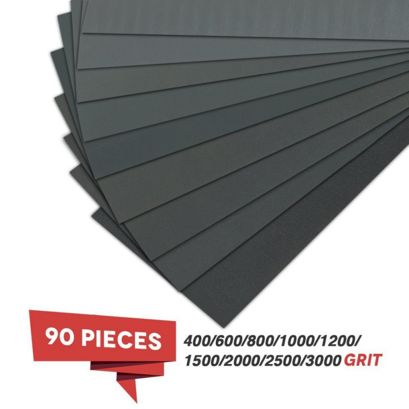 90Pcs Water Abrasive SandPapers 9*3.6 inch sandpaper 60#-5000# sandpaper set water sandpaper set