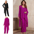 \Fuchsia Mother Of Bride Pant Suit 3 Pieces Chiffon Formal Mother's Gowns With Long Jacket Beaded Special Occasion Plus Size