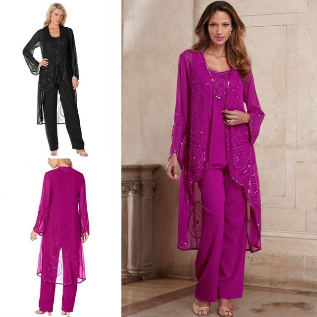 Fuchsia Mother Of Bride Pant Suit 3 Pieces Chiffon Formal Mother s Gowns  With Long Jacket Beaded Special Occasion Plus Size 3dbe81a07411