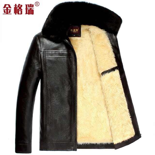 Men's thickening warm winter faux leather jacket men outerwear clothing thermal faux fur leather jackets coats free shipping f98