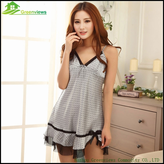 4 Farbe Polka Dot Lingerie Women With Bow Sexy Nightdress Summer Nighties  For Women One Size 709538448