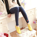 2016 Korean new Hot Ladies Fresh and sweet fruit pencil Pure cotton leggings women Hem embroidery Fashion Leggings Nine leggings