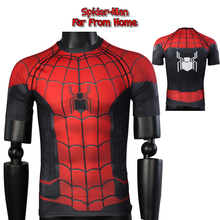 Spider Man Far From Home T-shirt Spider Man T Shirts Peter Parker Cosplay Costume Short Long Sleeve Tops 3D Sport Tight Tees amazing spider man peter parker