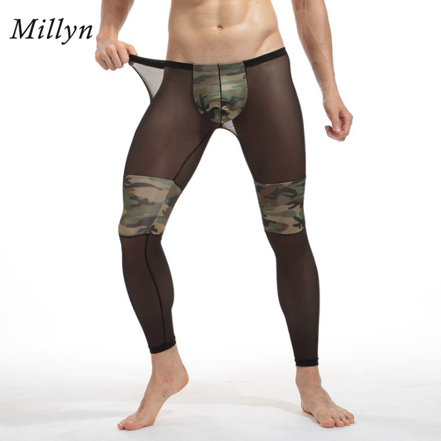 9b4b4599c281a US $17.99 |MILLYN Men's Fashion Sexy Transparent Camouflage Tights  Breathable Bodybuilding sheer Mesh pants legging long johns M XXL-in Long  Johns ...