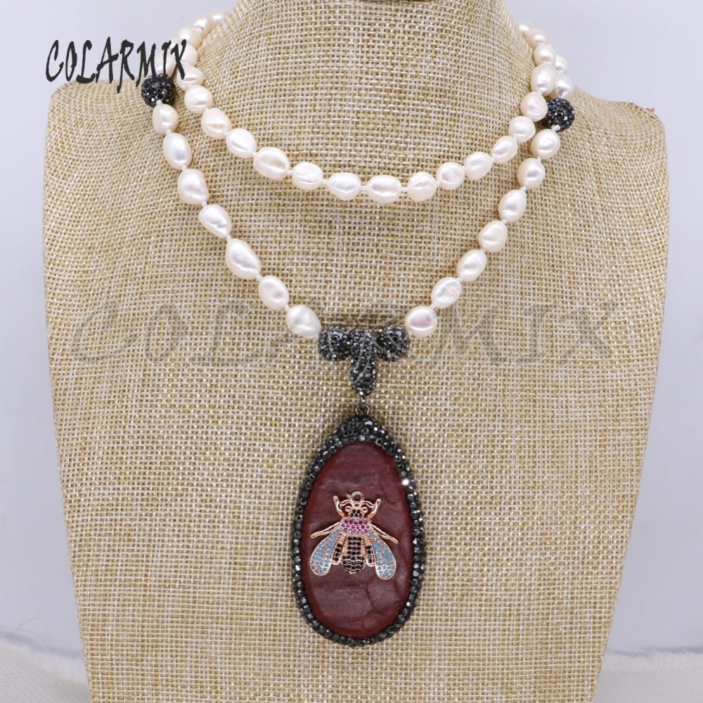 Snakeskin pendant &zircon bugs &tiny bee pendant Natural pearls strand pendant necklace handmade jewelry gift for lady 4112