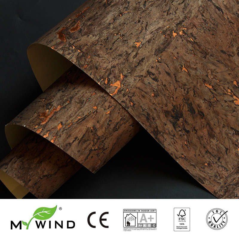 2019 MY WIND Brown Gold Burlywood Cork Wallpapers Luxury 100% Natural Material Safety Innocuity 3d Wallpaper In Roll Home Decor