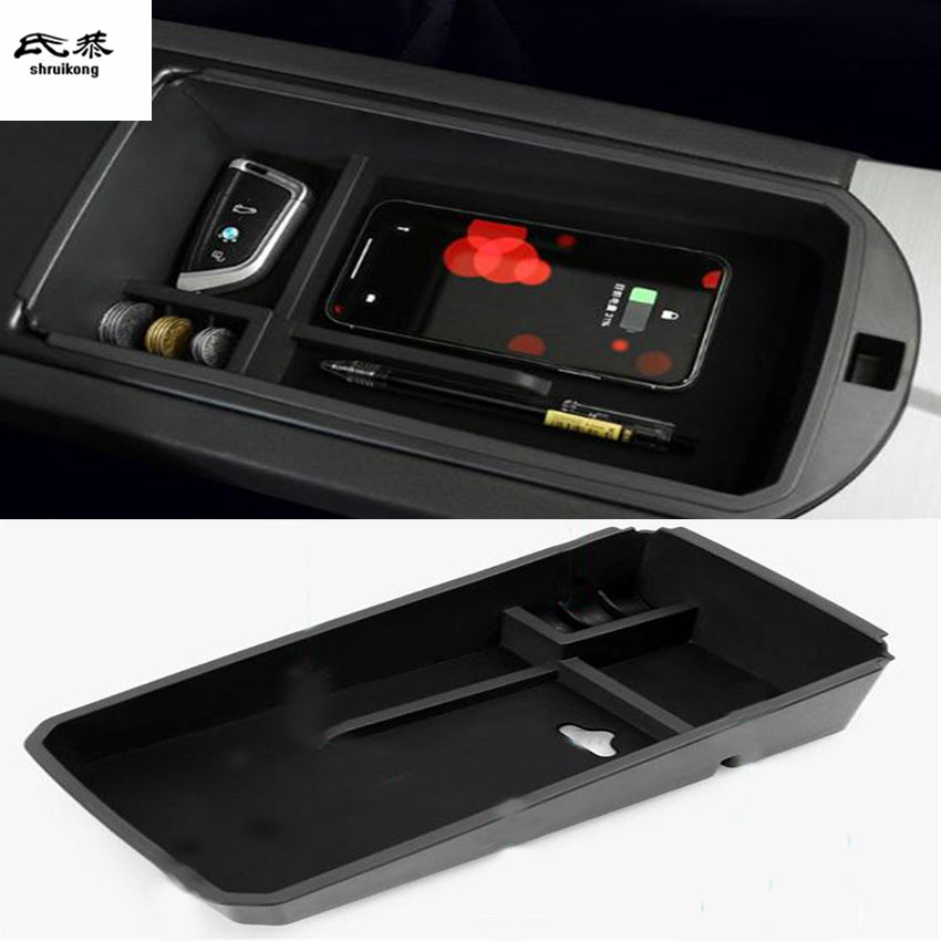1lot Mobile phone wireless charging Central Armrest storage box for 2014-2017 BMW X3 F25 / 2014-2018 BMW X4 F26 цена