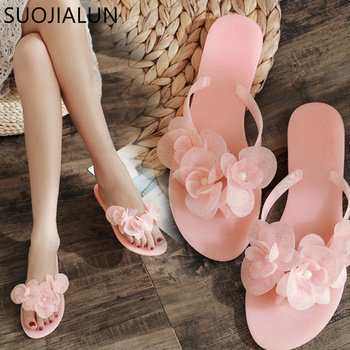 SUOJIALUN 2018 Summer Sweet Flower Slippers Flip Flops Women Sandals Female Candy Color Beach Shoes Outside Flat Slides