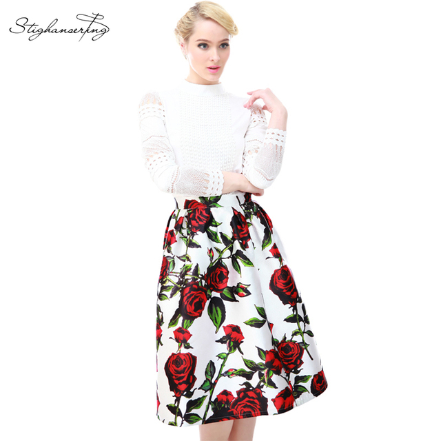 2016 estilo verão saias das mulheres elegantes rosefloral impressão skater saia plissada saia de cintura alta vintage