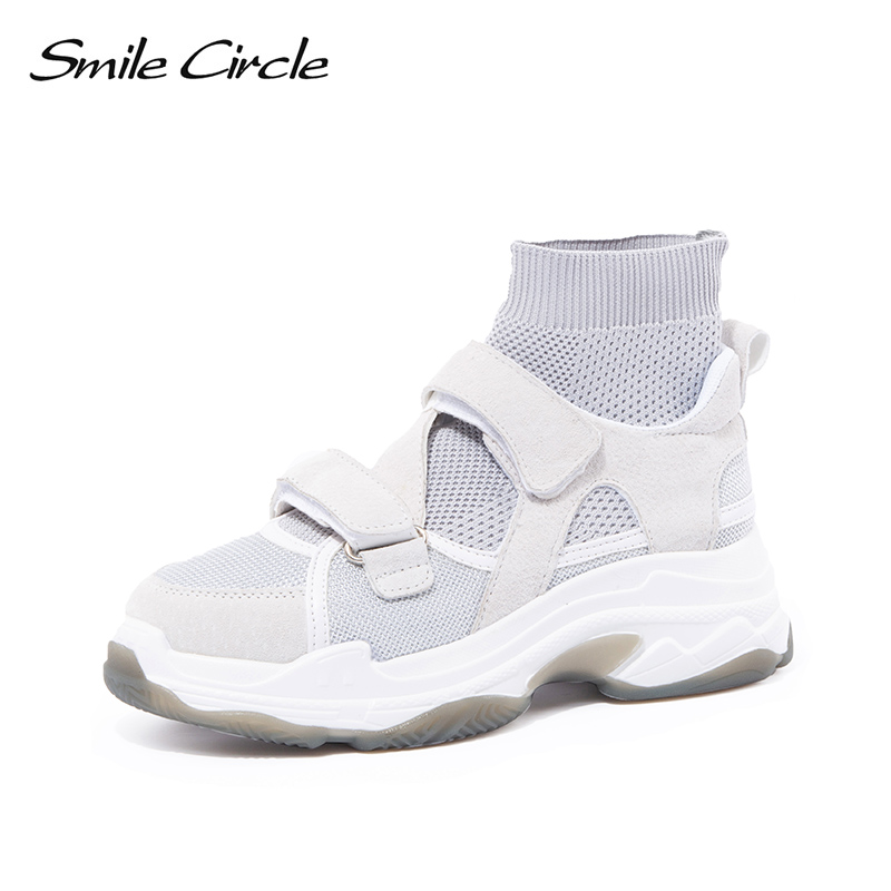 smile circle Women knitting chunky Sneakers 2018 Autumn Breathable design Flat Platform shoes Women High-top socks shoes цены онлайн