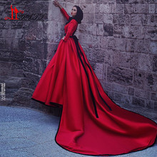 2017 Dubai Muslim Hijab Evening Dresses High Neck Long Sleeves A-Line Satin Beaded Sash Red Long Prom Dress Muslim Party Dress