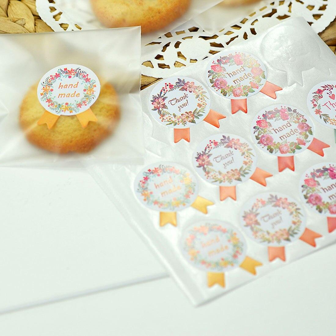 5 Sheets Handmade Sticker 60pcs/lot Vintage Stickers Kraft Label Sticker DIY Hand Made For Garland Small Bow Tie  Seal Sticker
