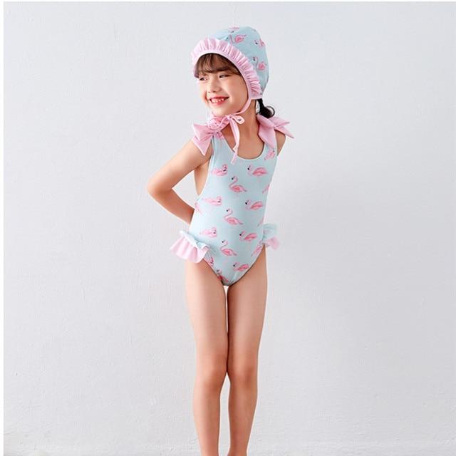 ee5a6b200d4 Funfeliz Flamingo Swimsuit Girls Swimming Cap Toddler Girl One Piece Swim  Suit Kids Cute Skirted Swimwear Children Bathing Suit