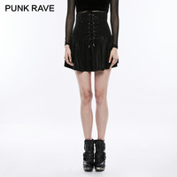PUNK RAVE 2018 Gothic Train Corsets High Waist Bandage Tight Stripe Pleated Skirt Lolita Women Mini