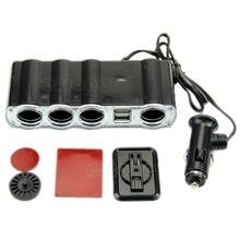 цена 4 Way Multi Socket Auto Car Cigarette Lighter Splitter USB Plug Adapter Charger онлайн в 2017 году