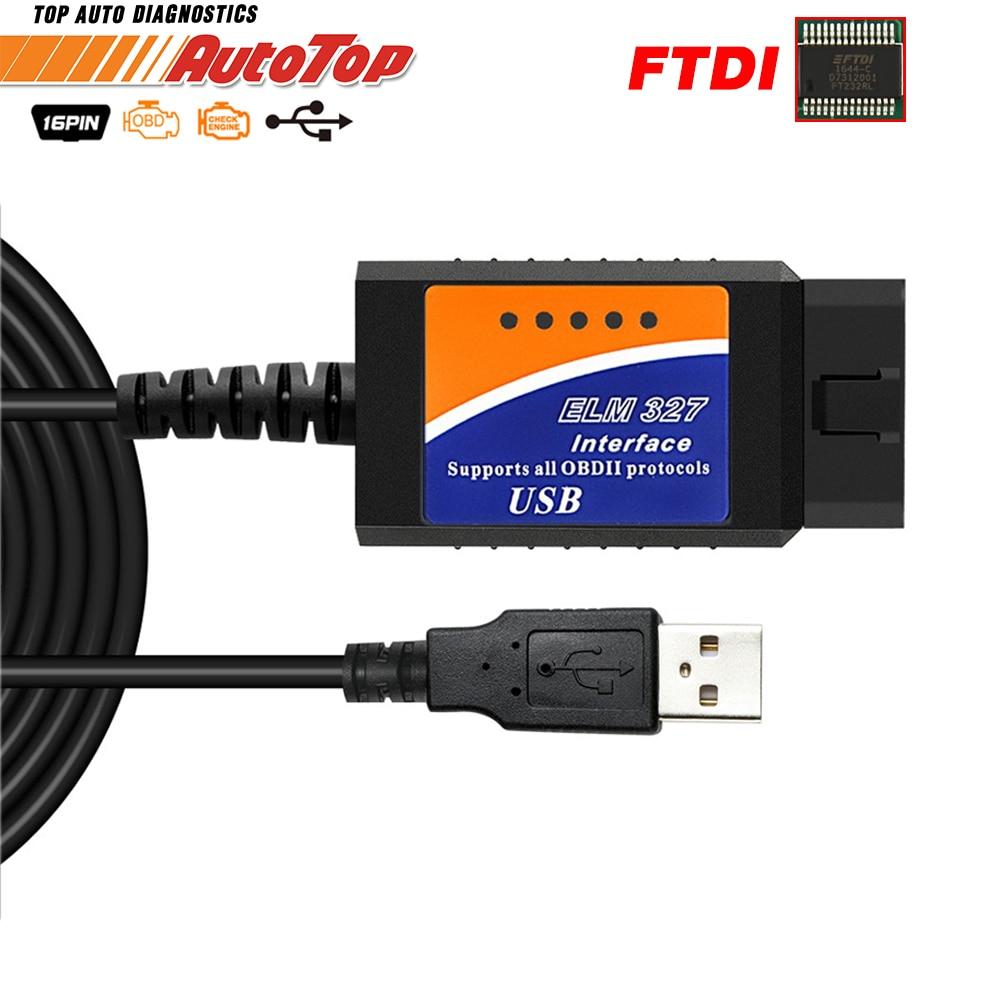 ELM327 USB OBD2 FTDI FT232RL Chip OBD 2 escáner automotriz para PC EML 327 V1.5 ODB2 interfaz herramienta de diagnóstico USB 327 V 1,5