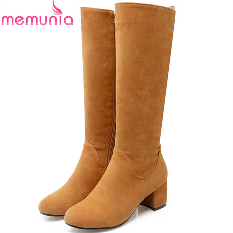 MEMUNIA Knee high boots PU nubuck leather high heels shoes woman autumn boots female solid zip womens boots big size 34-43 memunia big size 34 43 over the knee boots for women fashion shoes woman party pu platform boots zip high heels boots female