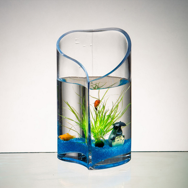 Modern Creative Glass Vase Fish Tank Heart Shaped Hydroponic