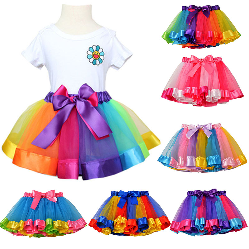 New Tutu Skirt Baby Girl Skirts Princess Mini Pettiskirt Party Dance Rainbow Tulle
