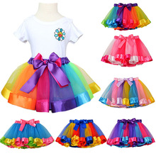 цены на New Tutu Skirt Baby Girl Skirts 3M-8T Princess Mini Pettiskirt Party Dance Rainbow Tulle Skirts Girls Clothes Children Clothing  в интернет-магазинах