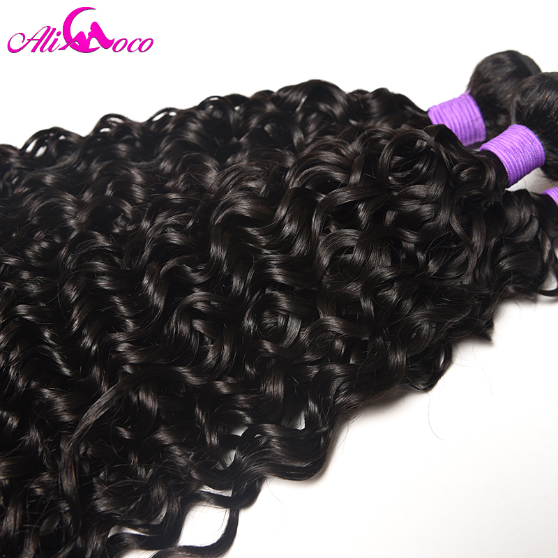 Ali Coco Hair Water Wave Brazilian Hair Weave Bundles 3PCS 100% Human Hair Weaves Natural Color Remy Hair Extensions 8-28 nch