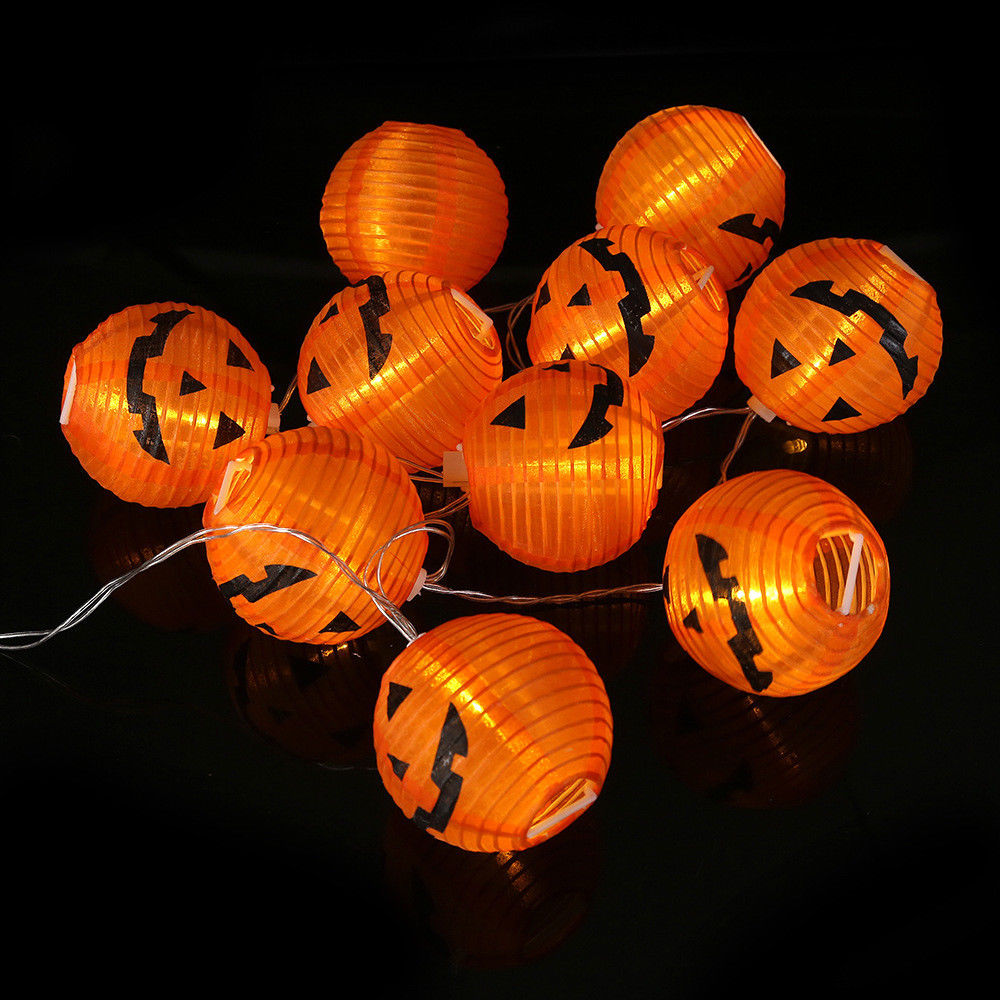 10 led halloween decoration led paper pumpkin light hanging lantern lamp halloween props outdoor party supplies