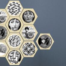 Creative European PVC Floor tile sticker fornasetti design Hexagon Self-adhesive waterproof bathroom/kitchen wall stickers