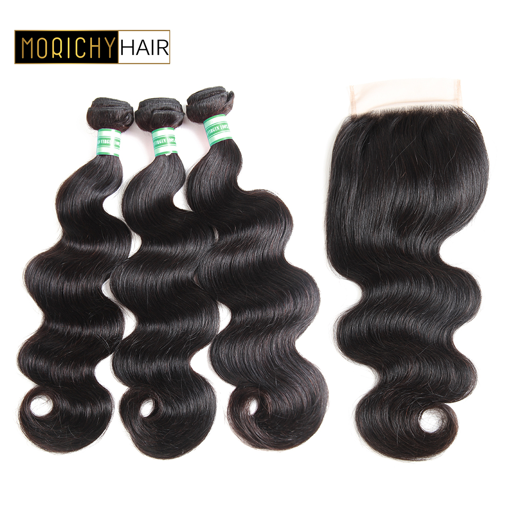 Morichy Brazilian Hair Weave Bundles With Closure Brazilian Body Wave Human Hair 3 bundles with closure Remy Hair Extension 8-28
