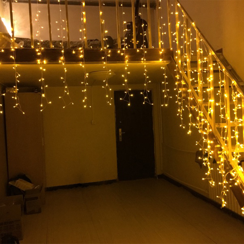 4m 13ft Droop 0.4m-0.6m LED Curtain Icicle String Light Flash Fairy Garland For Christmas New Year Wedding Home Party Decoration