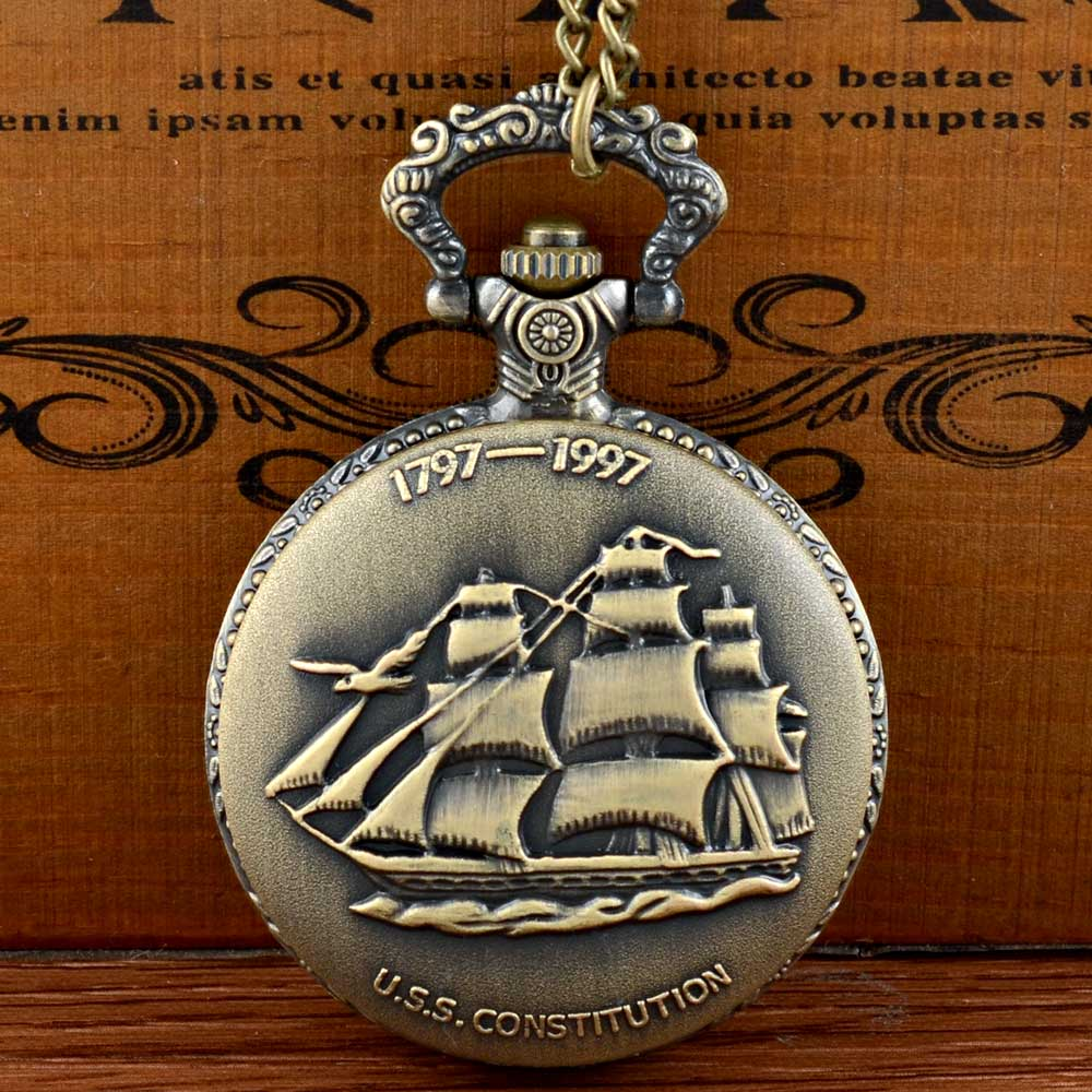 Vintage Bronze Quartz Pocket Watch Sailing Canvas Boat Ship Necklace Clock Pendant Watches Chain Women Men Girlfriend Gift plus open front tassel trim kimono
