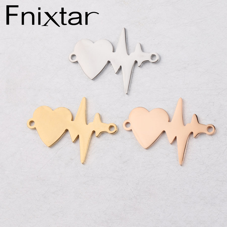 Fnixtar Love Heart Beat Charms Stainless Steel Mirror Polished Heart Rate Beat Charm Connector DIY Making 20*28mm 20piece/lot