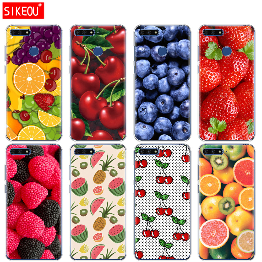 <font><b>Silicone</b></font> Cover Phone <font><b>Case</b></font> For <font><b>Huawei</b></font> Honor 7A PRO 7C Y5 <font><b>Y6</b></font> Y7 Y9 2017 <font><b>2018</b></font> Prime fruit strawberry watermelon <font><b>summer</b></font> image