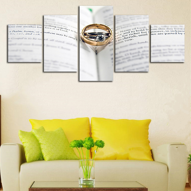 Wedding Ring On The Book Modular Not Framed Pictures Canvas HD ...