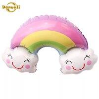 Globos de aire de arcoíris para niños, decoraciones para fiesta de cumpleaños, nube sonriente, globos de helio de aluminio, recuerdo encantador para niños, 1 Uds.